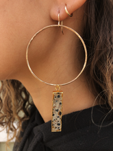 Load image into Gallery viewer, Dalmatian Jasper Bar Hoops