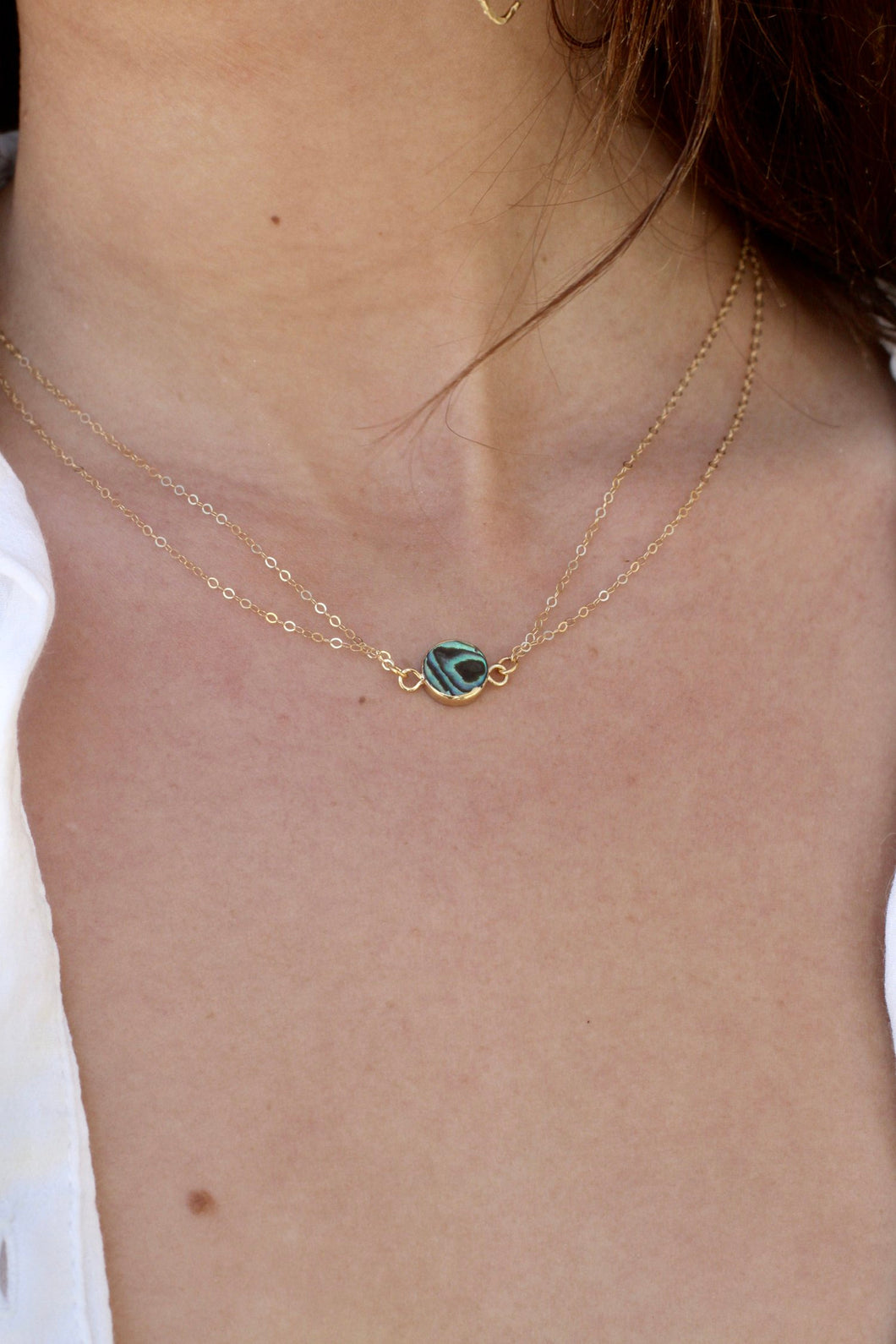 Double Chain Abalone Necklace
