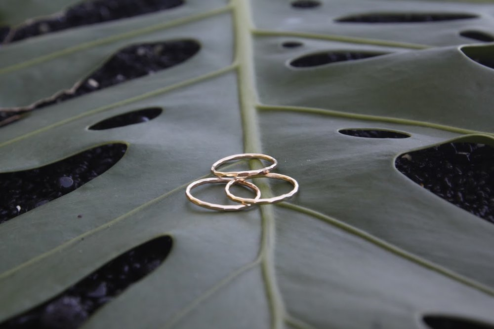 Hammered Dainty Rings
