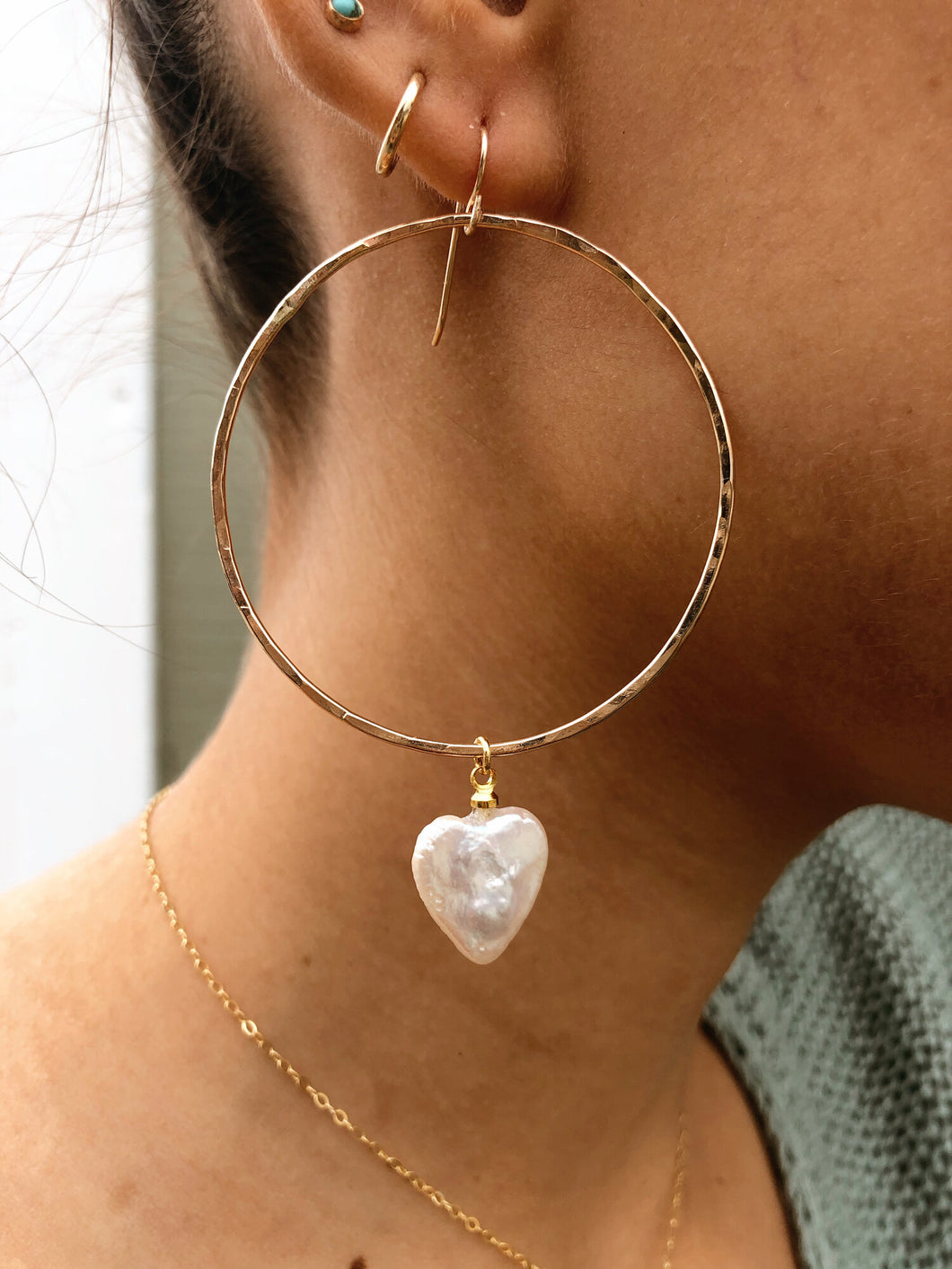 Bigga Heart Pearl Hoops