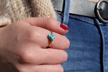 Load image into Gallery viewer, Dainty Hammered Turquoise Ring