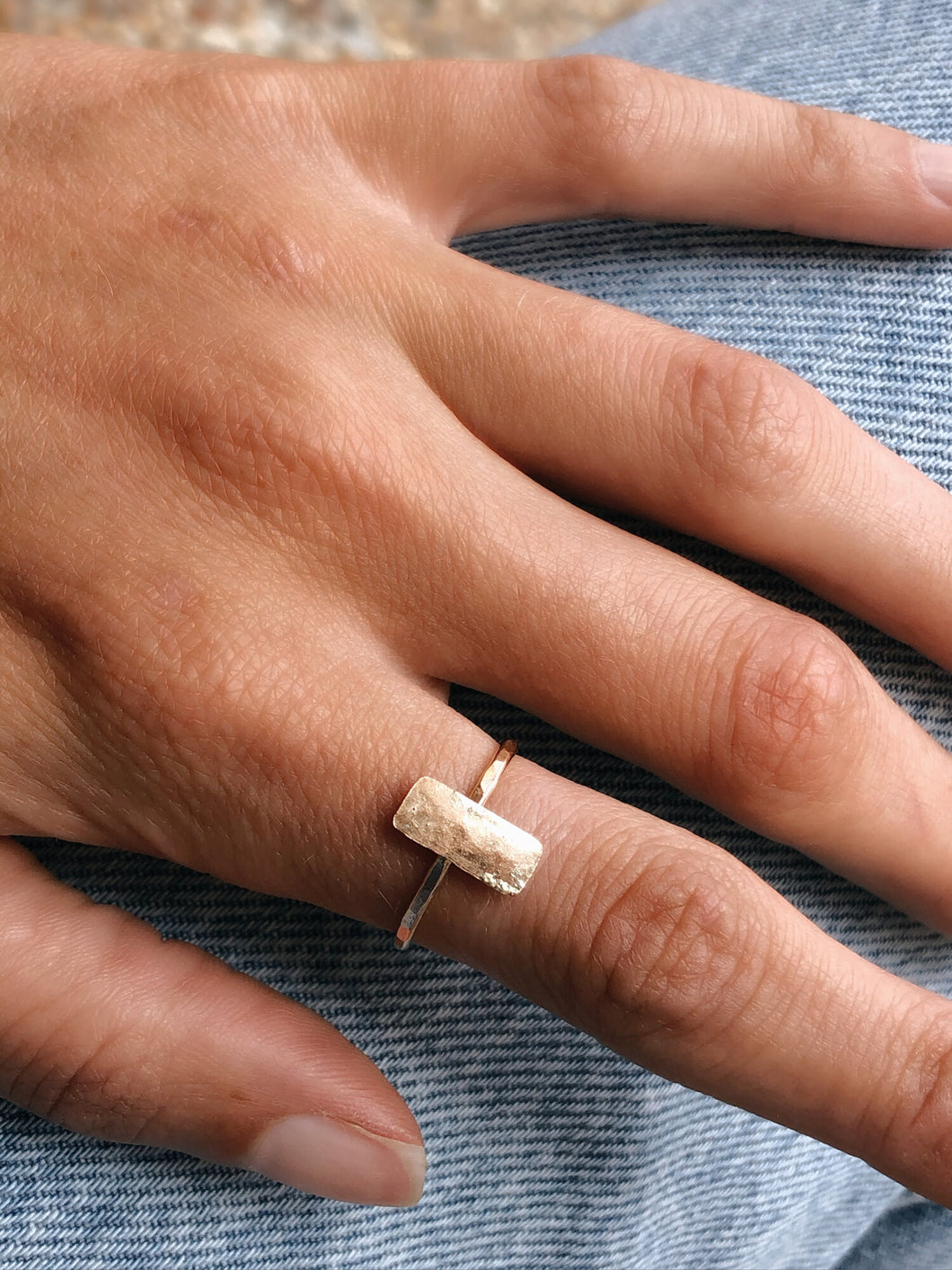 Hammered Vertical Bar Ring