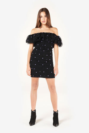 Embroidered off-the-shoulder tulle mini dress