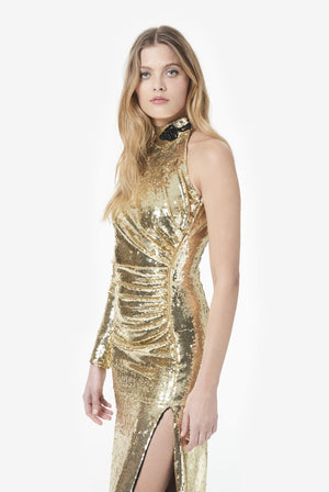 One-shouldered Sequin Gown