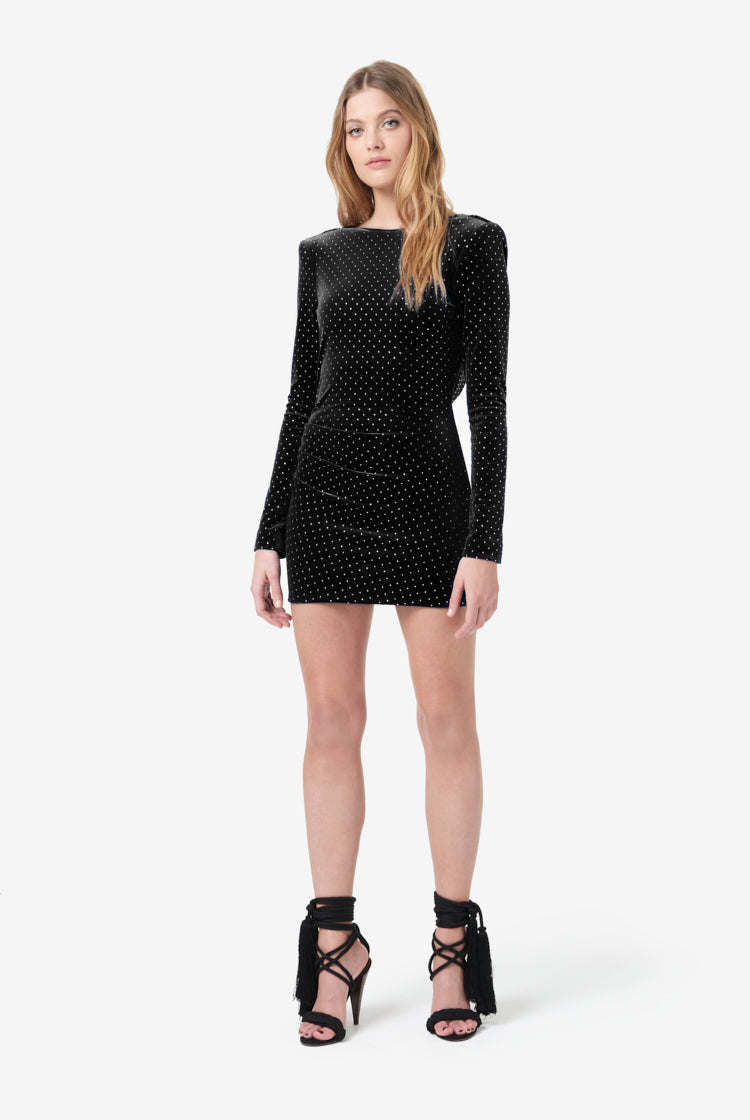 Crystal-Embellished Black Velvet Mini Dress