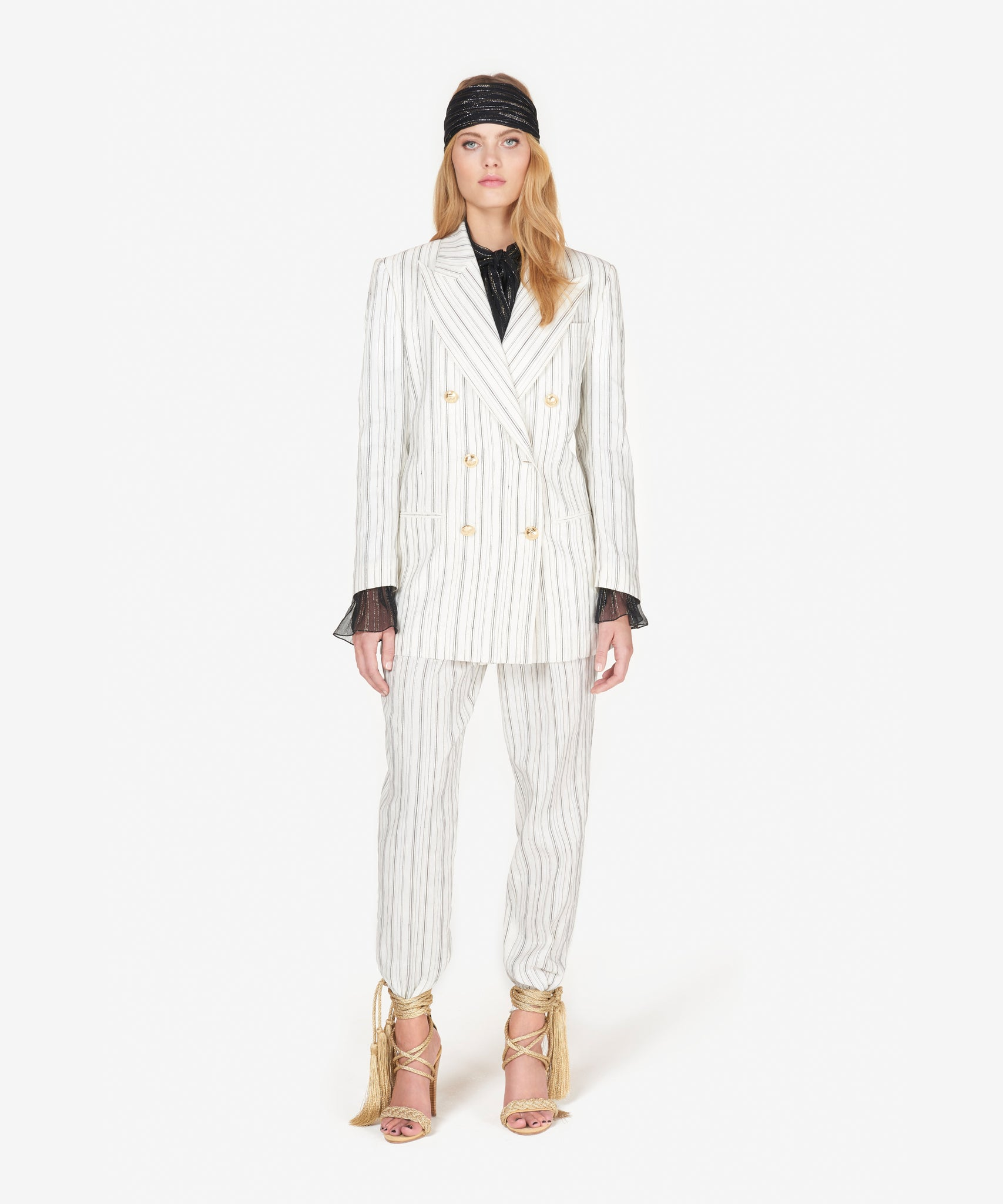Double-breasted ivory pinstriped jacket