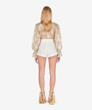 Ivory pinstriped linen tailored shorts