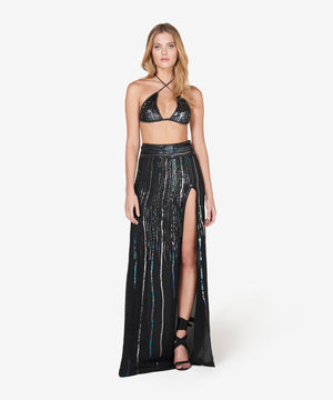 Sequin-embellished silk-georgette maxi skirt
