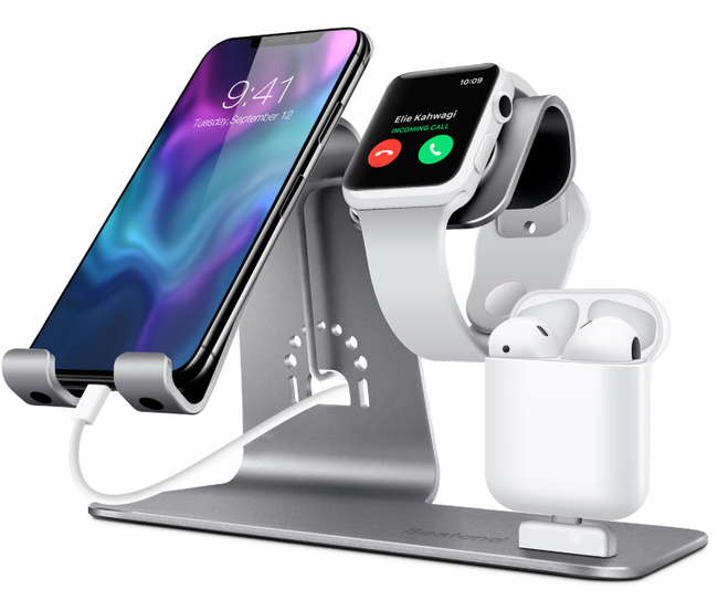 Support aluminium pour Smartphone iPhone + Apple Watch + AirPods