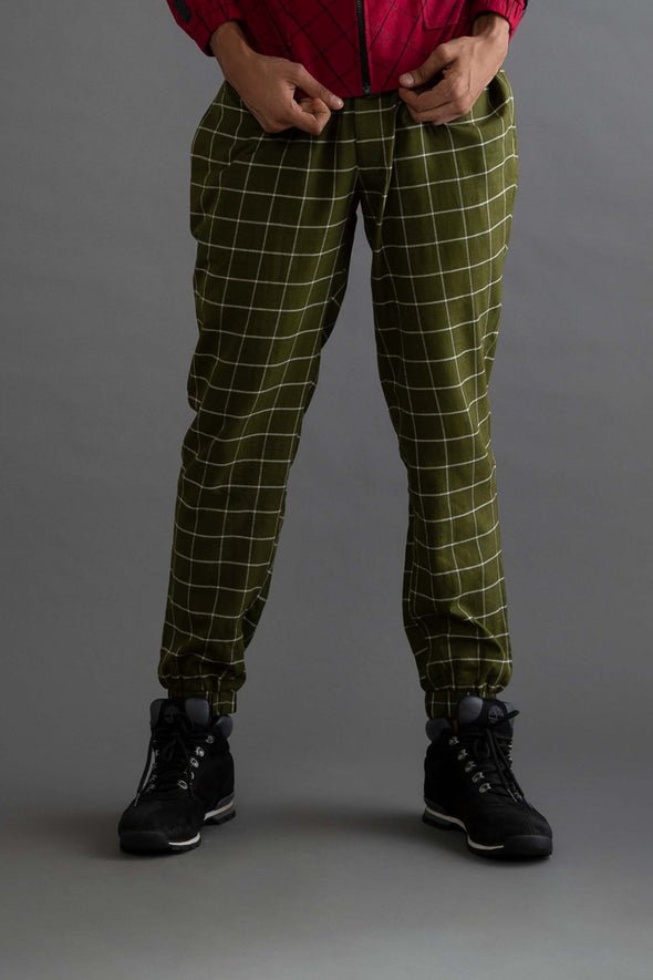 Blackbird Singing – Olive Checks Handwoven Cotton Joggers