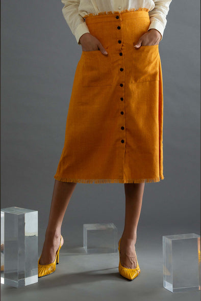 Mustard Vagrant – Linen Skirt with Patch Pocket