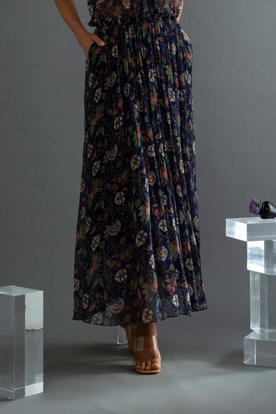 Moonwake - Printed Wrinkled Chiffon Gathered Skirt