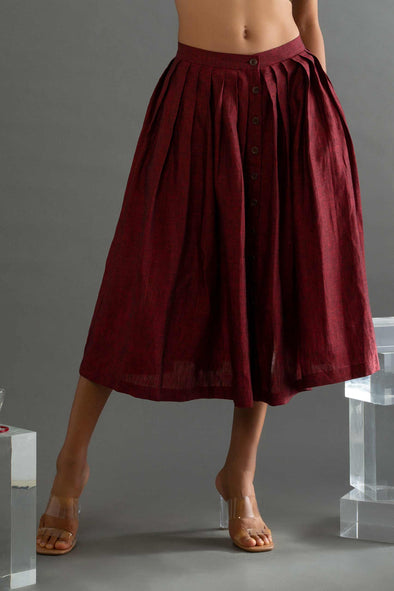 Wildflower – Maroon Bhagalpuri Pleated Skirt