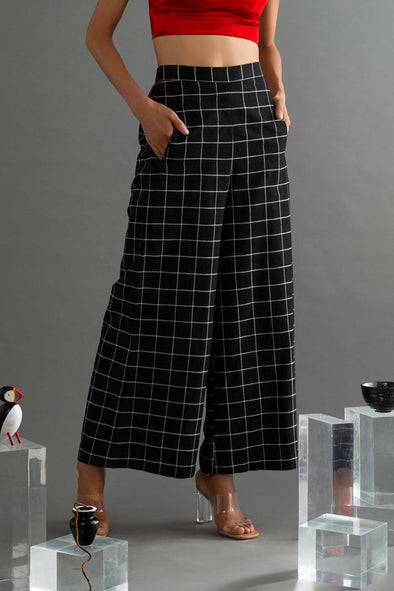 Canopy Clouds - Black Checks Handwoven Cotton Palazzo