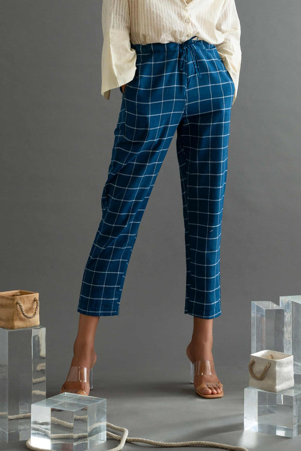 The Panacea - Blue Checks Handwoven Cotton Pants