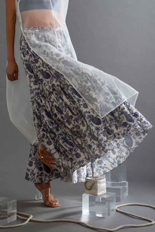 Indigo Mischief - Printed Gathered Skirt