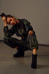 Handwoven-cotton tie-dye black-green jogger pants