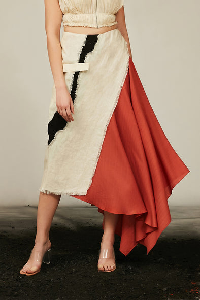 asymmetric tencel and linen skirt