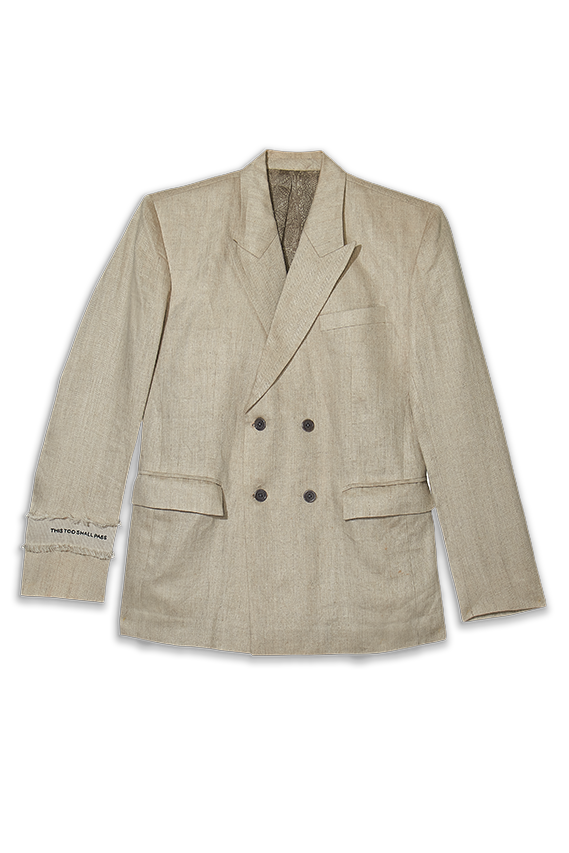 beige linen classic double breasted jacket for men