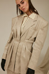 beige alinen jacket for women
