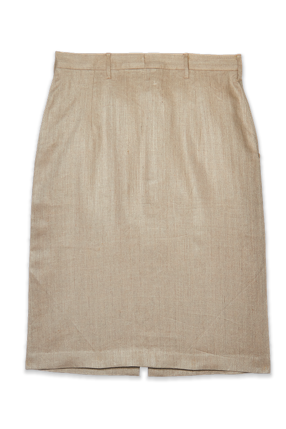beige linen tube skirt with front slit