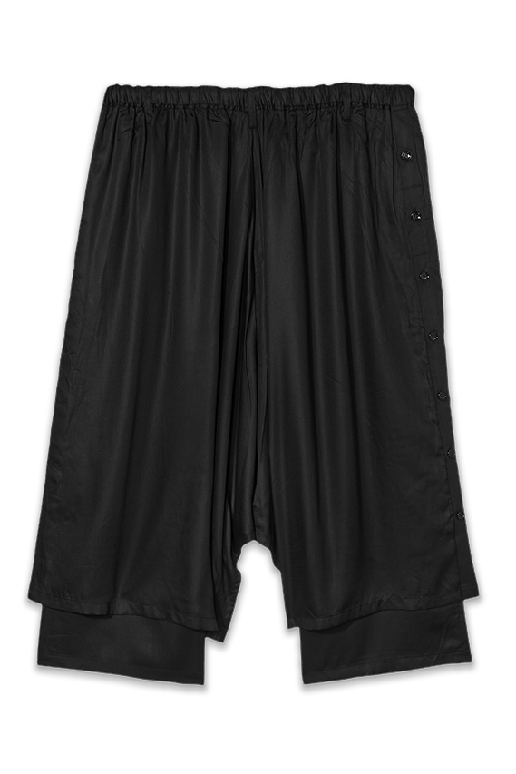 black tencel double layered flared pants for men