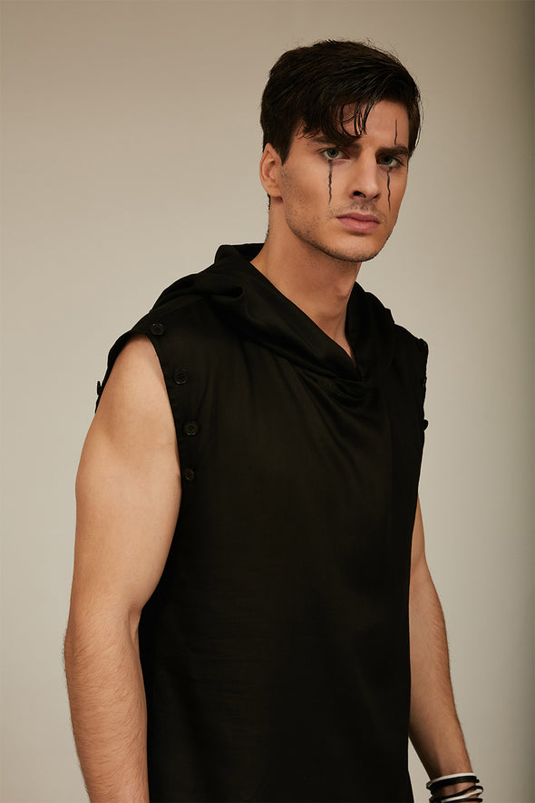 black tencel sleeveless tunic with hood and show buttons on armhole