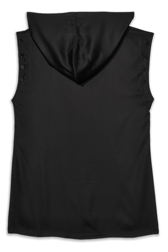 black tencel sleeveless tunic with hood for men