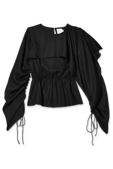 black tencel top with drawstring sleeves
