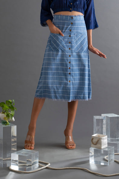 Blue Checks Handwoven Cotton Skirt