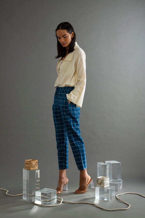 Office Wear Blue Khadi Checks Narrow Pants