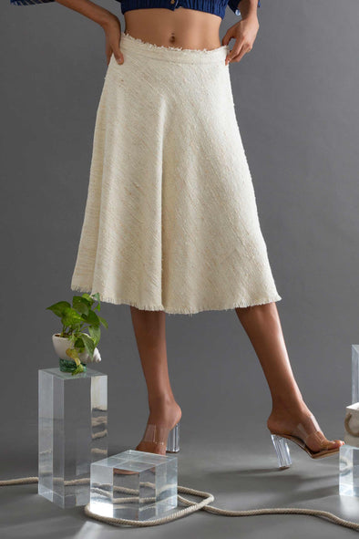 Self-Textured Linen Bias Skirt