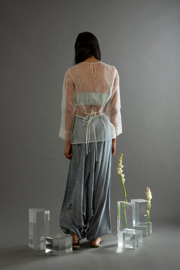 Cascading Blues Greyish Handwoven Cotton Pants