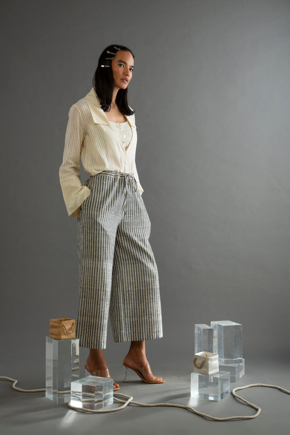 Grey Khadi Striped Pants