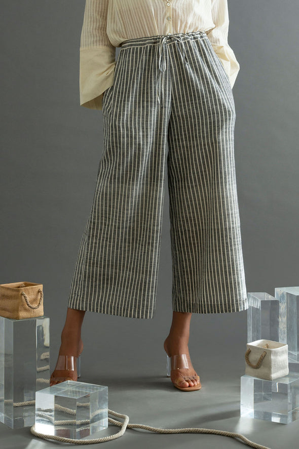 Grey Striped Handwoven Cotton Flared Pants