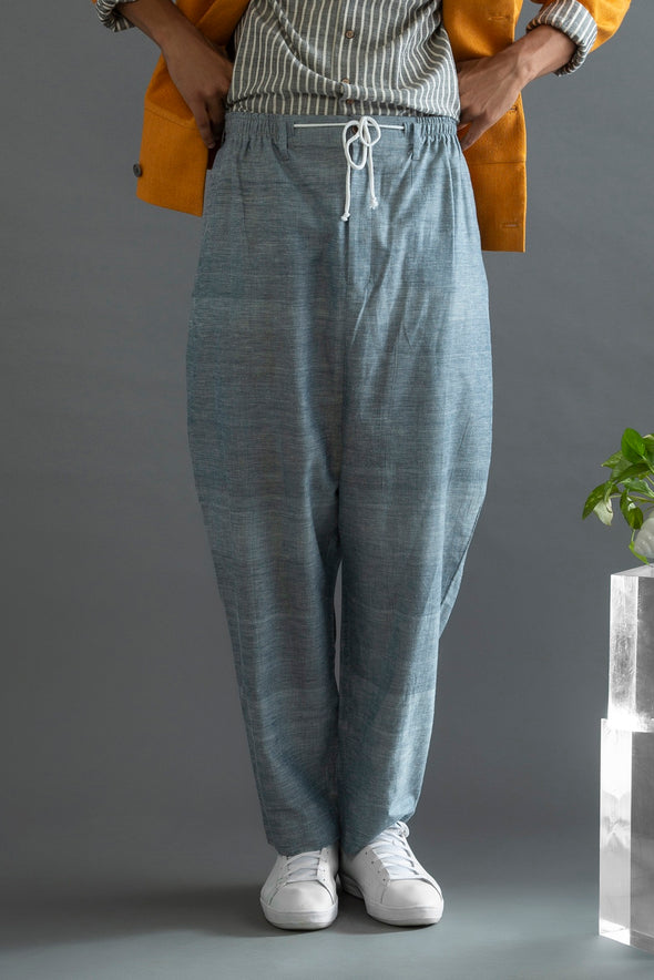 Harbinger of Hope - Greyish Blue Handwoven Cotton Pant