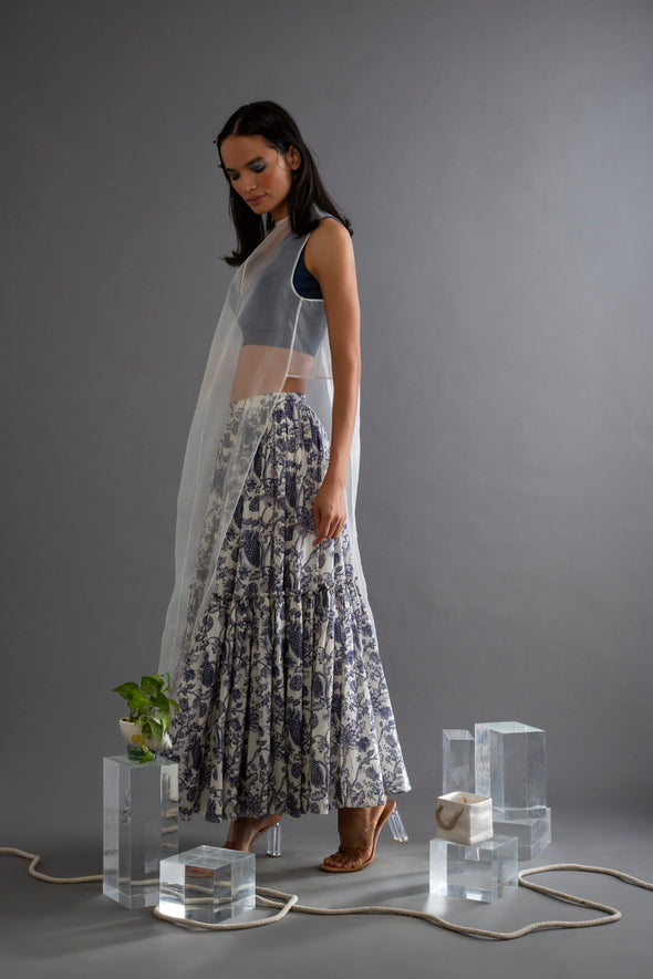 Indigo Chintz Printed Skirt
