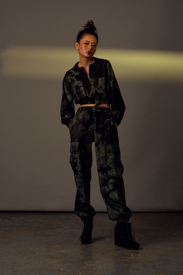 Handwoven Cotton tie-dye Black green jogger pants and cropped hood jacket