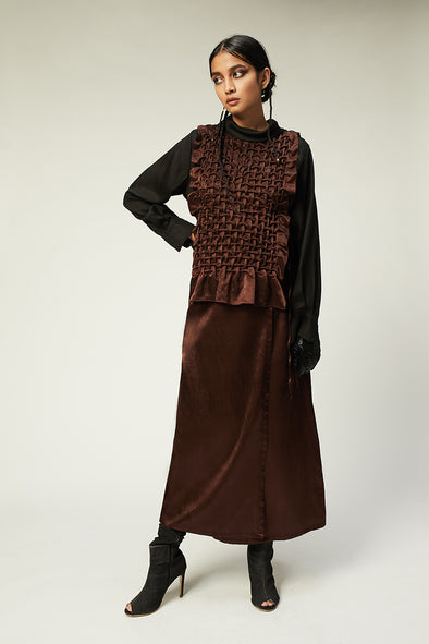 mashru hand smocked bib with boat neck and side tie-ups