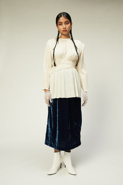 muslin ruched full sleeves top