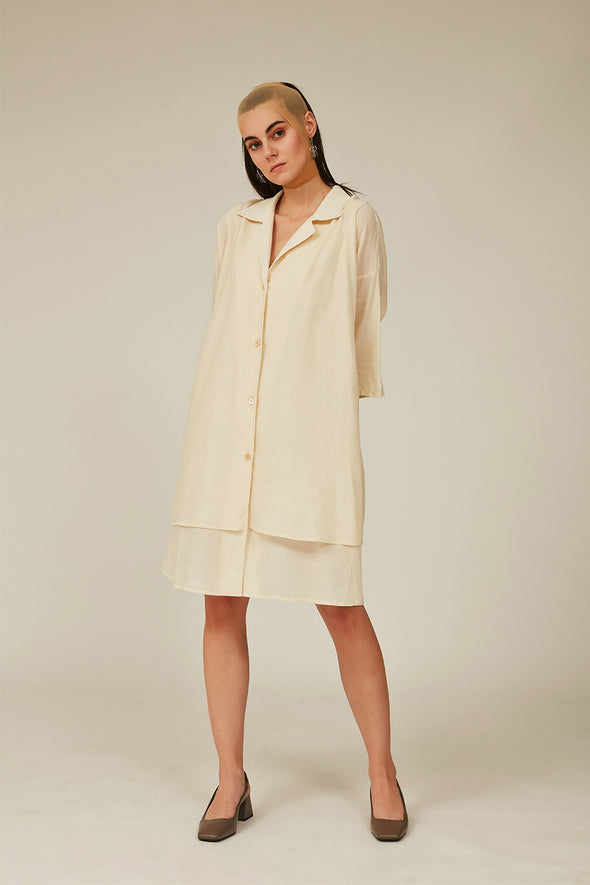 off-white muslin double layered long shirt