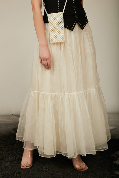 off white organza tiered skirt