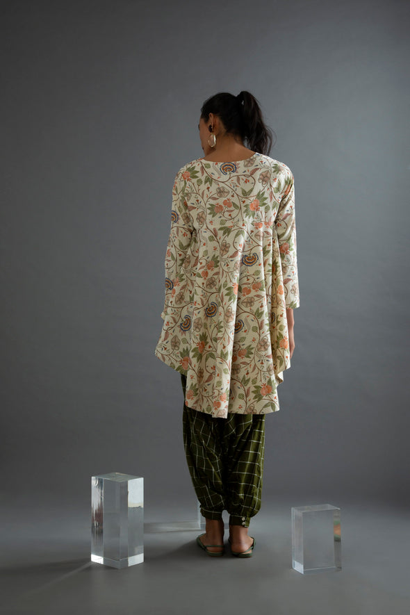 Olive Checks Handwoven Cotton Dhoti Pants
