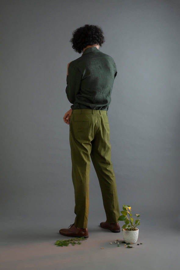 Olive Handwoven cotton Trousers Jaded Days