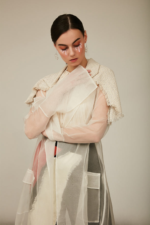 organza long jacket with tweed frayed flap on shoulder