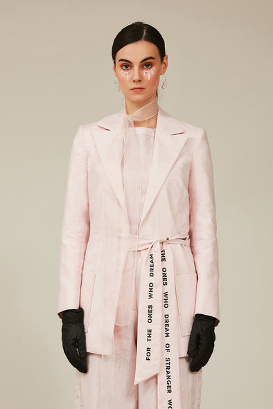 pink linen double breasted jacket with printed waist tie up