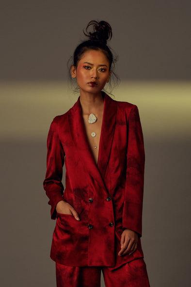 Lucifer Blazer - Red Satin Silk