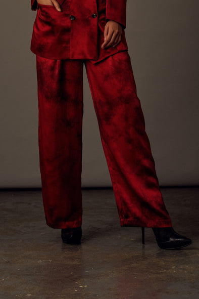 Lucifer Trousers - Red Satin Silk