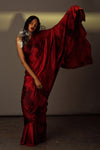 Red Satin Silk Tie-dye Saree