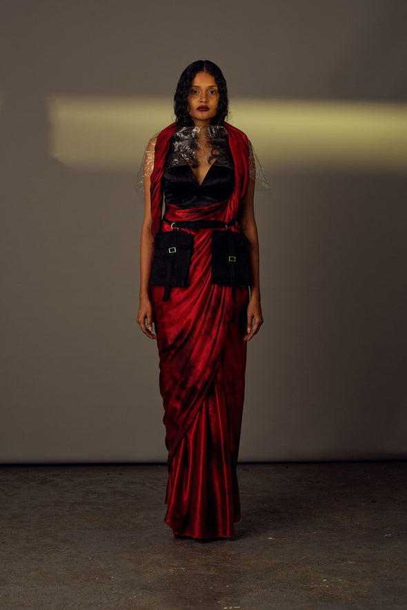 Eternal - Red Satin Saree